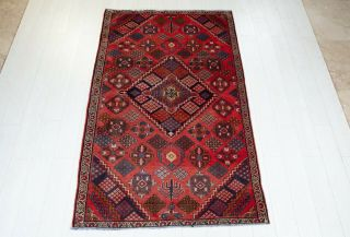 4x6ft.  Hand - Knotted Tribal Area Rug Geometric Red Low Pile Oriental Wool Carpet