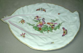 Rare Antique Dr Wall Period Worcester Leaf Shaped Dish Birds & Butterflies C1770