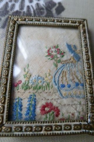 Vintage Crinoline Lady Small Embroidery Fabric In Scandinavian Vintage Frame