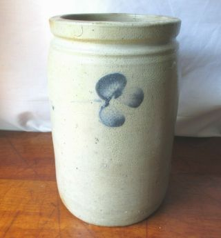 Antique Baltimore Blue Decorated Stoneware Crock Clovers Three Sides 1 Gallon