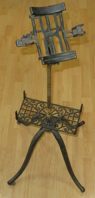 Antique Victorian Cast Iron Dictionary Bible Book Music Stand Industrial Legs