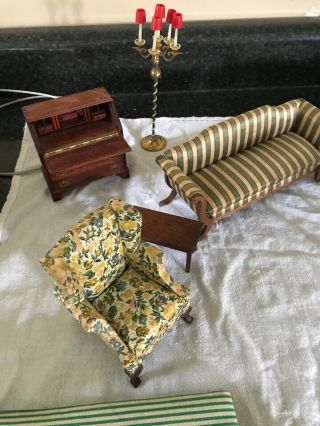 High End Vintage & Antique Dollhouse Furniture Desk Bed Lamp Chairs Tables Couch