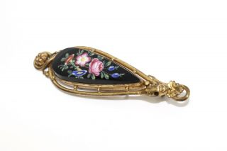 A Fine Antique Early Victorian Pinchbeck Gold Plated Snake Porcelain Brooch A/f