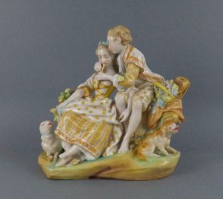 Antique Large Jean Gille French Porcelain Figurine Of Young Pare By Vionbaury19c