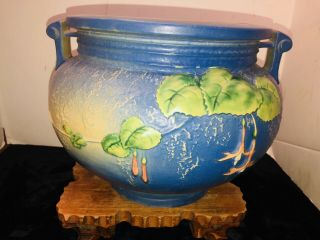 "Antique Roseville 10"" Blue Flower Pot"