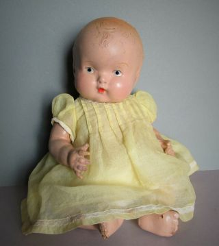 """Very Sweet Antique Vintage Baby Toddler Girl Doll 11 """" Composition 1920 - 1930s"""