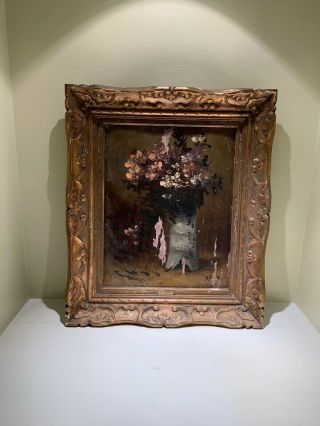 Alfred Rouby Antique French Floral Oil Painting (1849 - 1909) Rare Masterpiece 1/1