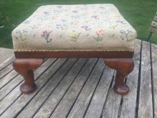 Antique Queen Anne Yew Foot Stool With Embroidery Stitch Work Of Flowers