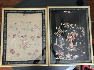 Pair Antique Chinese Embroidered Silk Framed Pannels