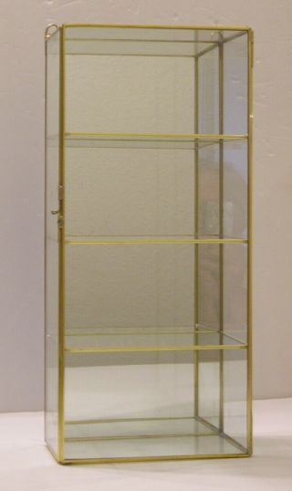 "16 "" X 7 "" Glass And Brass Curio Display Cabinet"