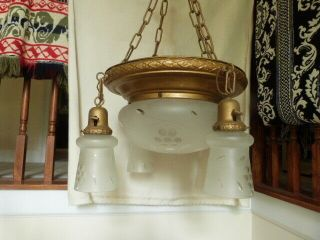 5 Antique Art Deco Chandelier Hanging Light Fixture Etched Shades - Shades Only