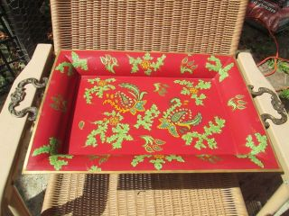 Vintage Red Metal Serving Tray Botanical Pattern With Antiqued Brass Handles