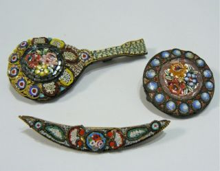 3 Vintage Micro Mosaic Italian - Very Rich In Detail - Possible Antiques