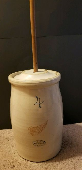 Antique Red Wing Stoneware 4 Gallon Hand Thrown Crock Butter Churn Age 1900 - 1940