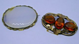 2 X Antique Pinchbeck / Gold Plated Agate And Citrine Set Brooches