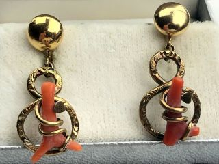 Antique Victorian 12k Gf And Red Coral Earrings