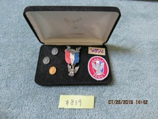 Boy Scout Eagle Award Kit With Medal Pins And Patches In Case