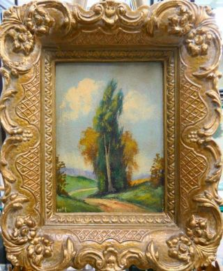 Vintage Or Antique Small Landscape Oil Painting Framed And Signed By Artist
