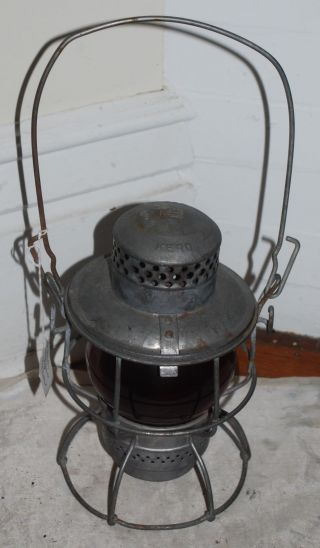 Vintage Antique Adlake Kero Penn Central Railroad Lantern Red Globe