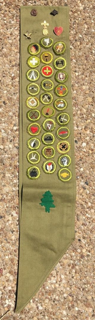 Vintage 1930s 40s Boy Scout Merit Badge Sash Pins Patches & Felt Camp Meriwether