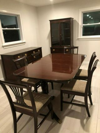 Duncan Phyfe Mahogany Dining Room Set: Buffet Table,  Six Chairs,  China Cabinet