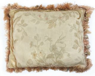 Antique Early 19th C French Aubusson Tapestry Fragment Pillow W Antique Fringe