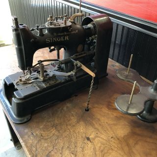Antique Singer Industrial Buttonhole Machine W/ Mahogany Table & Motor