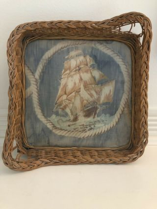 Vintage Wicker Serving Tray With Sailing Vessel/pirate Ship Fabric Inlay Unique