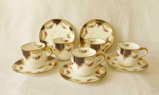 Set Of Five Antique Late19th Early 20th C Wedgwood Porcelain Coffee Cups Saucers