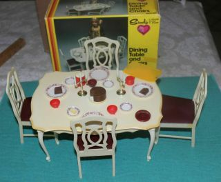 Vintage Marx Sindy Dining Room Table And Cabinet Set,  Accessories With Boxes