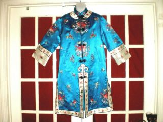 Fine Old Chinese Blue Silk Long Jacket/robe W/embroidered Chrysanthemums Sz L/xl