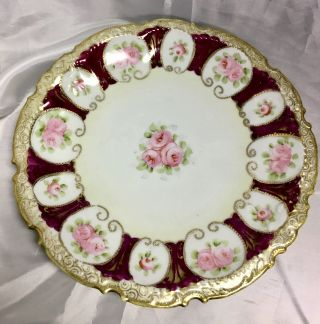 Vintage Antique Dinner Plate Floral Burgundy White Pink Roses Gold Rim 10 Inches