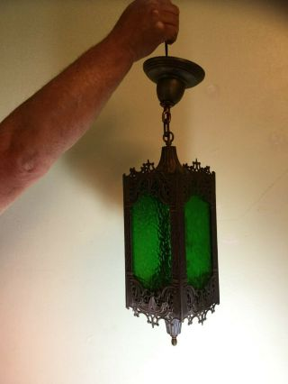 Antique Arts&craft Pendant Light With Green Slag Glass Mission Style