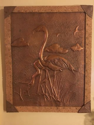 Antique Arts And Crafts Hammered Copper Wall Picture 1910 - 1920 Flamingoes