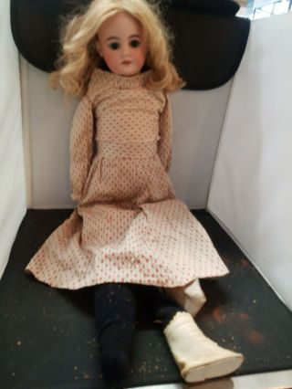 Antique German 1894 Am 8 Dep Doll With Leather Body Needs Tlc On Body Only