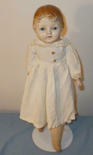 """Antique 1915 Ideal Girl Doll 17 """" Composition/leather Body"""