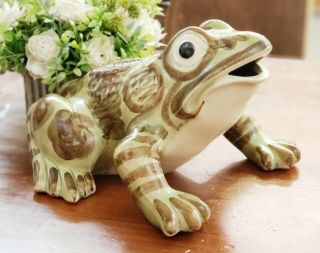 Rare Extra Large Vintage Brush Mccoy Art Pottery Frog Figure 10 Inches Antique