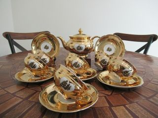 "Vtg C.  1946 14 - Pc Seltmann Weiden Bavaria Germany "" Anita "" 24k Gold Gilt Tea Set"