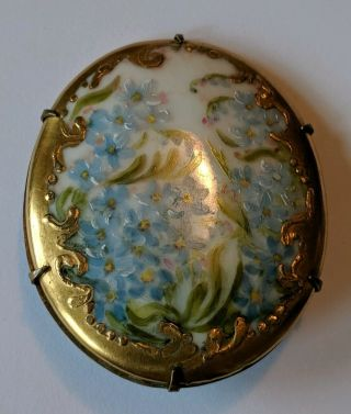 Large Antique Victorian Hand Painted Porcelain Pin Brooch Blue Flowers Gold Trim