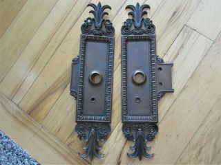 1899 Pair Heavy Bronze Egg & Dart Victorian Door Knob Back Plates Brass Acanthus