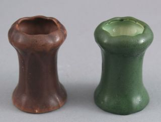 2 Antique Arts Crafts Hampshire Pottery Miniature Cabinet Vases Matte Glaze Nr
