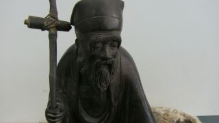 Early Antique Chinese Bronze Scholar Figure