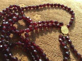 Antique 3 Row Dutch Garnet Bead Necklace 17th/18th Century Engraved Gold Clasp