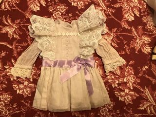 Vintage French Cotton Jumeau Bebe Dress For Antique Bisque Or Early Doll 16 - 18""