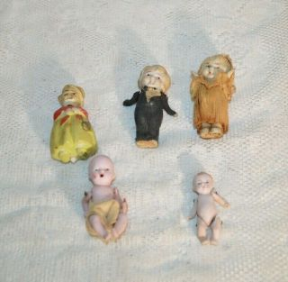 Five Antique / Vintage German Dollhouse Dolls