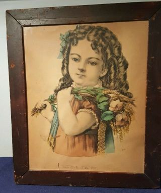 Antique Currier & Ives Little Daisy Young Girl With Flowers Lithograph Victorian