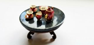 Vintage George Spencer Blk Marble Topped Coffee Table With Tea Set