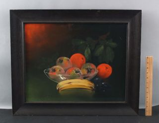 Antique Clarence Braley American Fruit Still Life Pastel Drawing,  Banana Apples