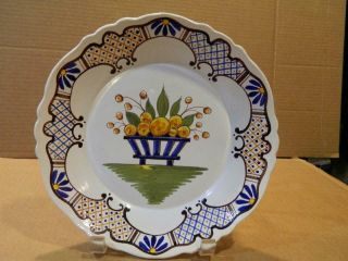 "French Faience Round 8 3/4 "" Plate Fruit High Rim Antique"