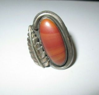 Antique Native American Silver And Agate? Ring With Tm Hallmark